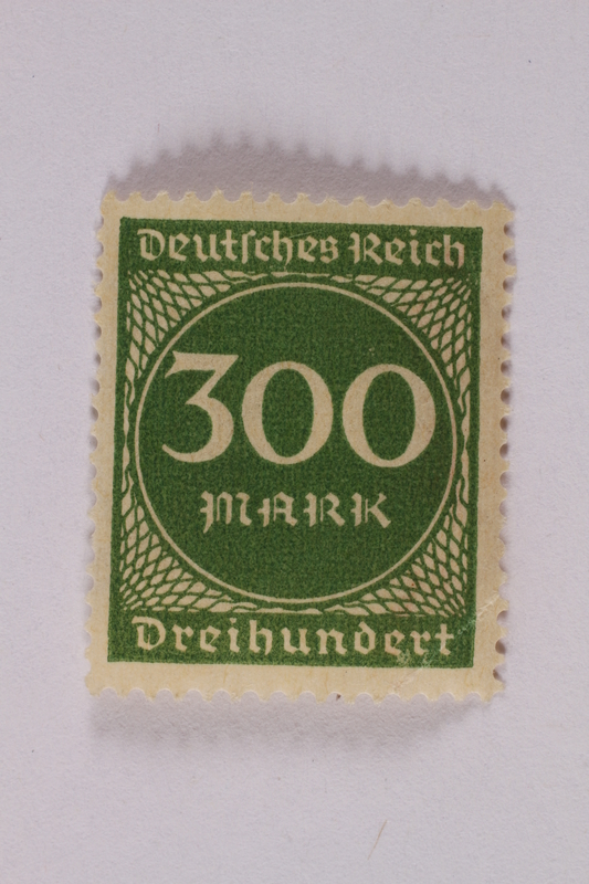 2006.265.51 front Postage stamp, 300 mark, issued in Germany during hyperinflation in the Weimar Republic