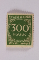 2006.265.51 front Postage stamp, 300 mark, issued in Germany during hyperinflation in the Weimar Republic  Click to enlarge