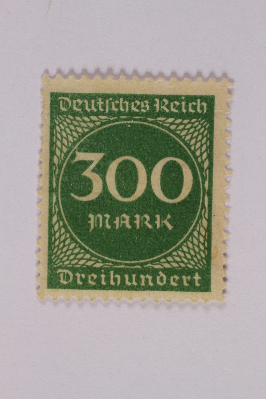 2006.265.52 front Postage stamp, 300 mark, issued in Germany during hyperinflation in the Weimar Republic