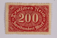 2006.265.53 front Postage stamp, 200 mark, issued in Germany during hyperinflation in the Weimar Republic  Click to enlarge