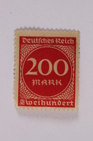 2006.265.54 front Postage stamp, 200 mark, issued in Germany during hyperinflation in the Weimar Republic  Click to enlarge
