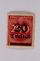 2006.265.55 front Postage stamp, 200 mark, issued in Germany during hyperinflation in the Weimar Republic  Click to enlarge