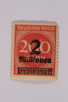 2006.265.59 front Postage stamp, 200 mark, issued in Germany during hyperinflation in the Weimar Republic  Click to enlarge