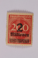 2006.265.61 front Postage stamp, 200 mark, issued in Germany during hyperinflation in the Weimar Republic  Click to enlarge