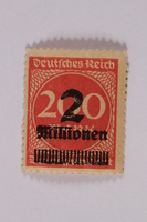 2006.265.63 font Postage stamp, 200 mark, issued in Germany during hyperinflation in the Weimar Republic  Click to enlarge
