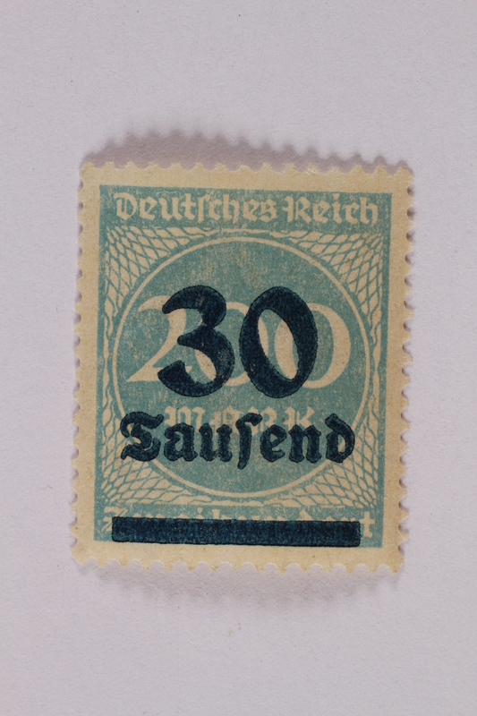 2006.265.65 font Postage stamp, 200 mark, issued in Germany during hyperinflation in the Weimar Republic