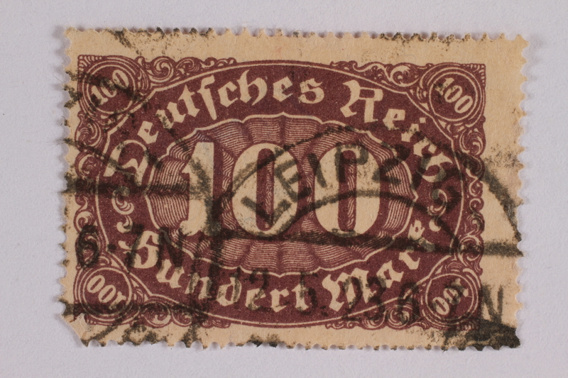 2006.265.66 font Postage stamp, 100 mark, issued in Germany during hyperinflation in the Weimar Republic