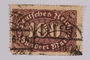 Postage stamp, 100 mark, issued in Germany during hyperinflation in the Weimar Republic
