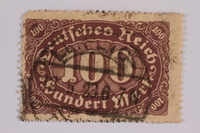 2006.265.67 font Postage stamp, 100 mark, issued in Germany during hyperinflation in the Weimar Republic  Click to enlarge