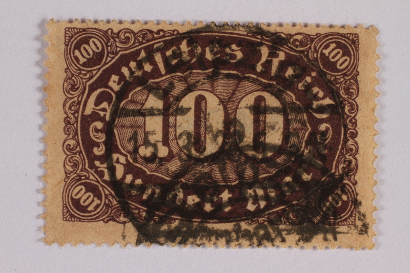2006.265.68 font Postage stamp, 100 mark, issued in Germany during hyperinflation in the Weimar Republic