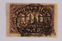 2006.265.68 font Postage stamp, 100 mark, issued in Germany during hyperinflation in the Weimar Republic  Click to enlarge
