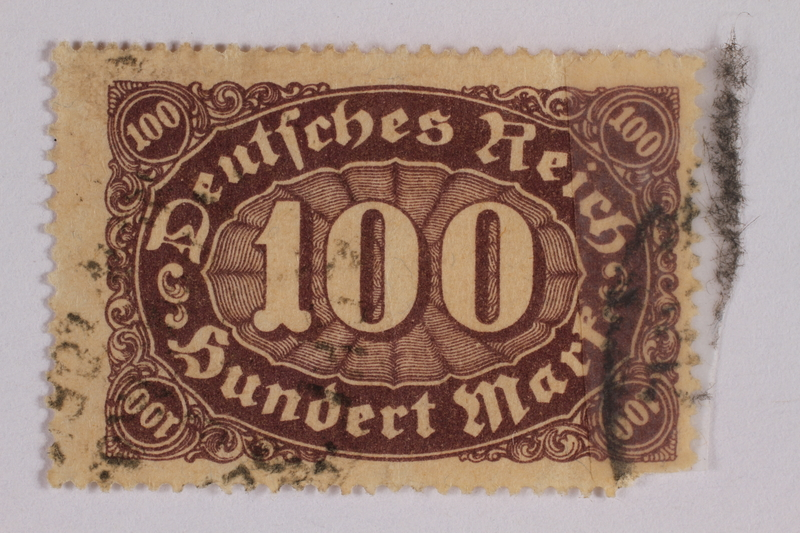 2006.265.70 front Postage stamp, 100 mark, issued in Germany during hyperinflation in the Weimar Republic