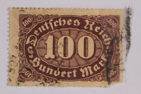 2006.265.70 front Postage stamp, 100 mark, issued in Germany during hyperinflation in the Weimar Republic  Click to enlarge