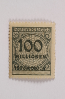 2006.265.71 front Postage stamp, 100 mark, issued in Germany during hyperinflation in the Weimar Republic  Click to enlarge
