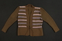 Green striped wool knit cardigan made from a US Army blanket by a Jewish refugee in a DP camp