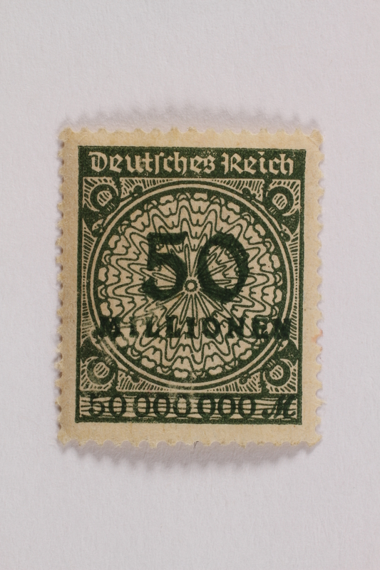 2006.265.99 front Postage stamp, 50 milionen mark, issued in Germany during hyperinflation in the Weimar Republic
