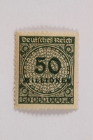 2006.265.99 front Postage stamp, 50 milionen mark, issued in Germany during hyperinflation in the Weimar Republic  Click to enlarge