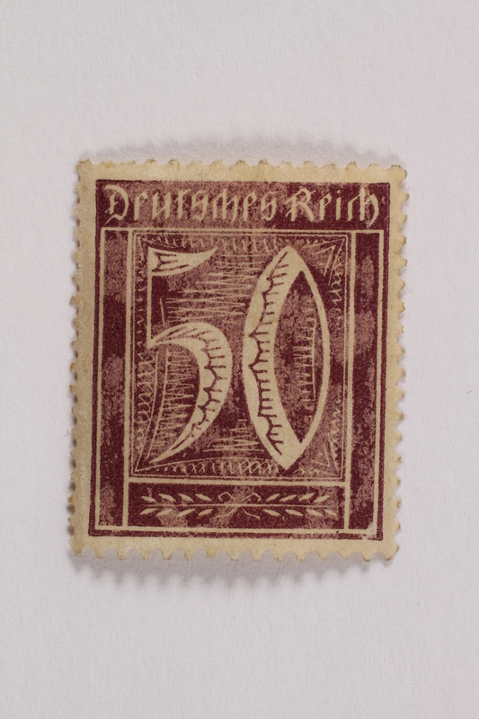 2006.265.100 front Postage stamp, 50 mark, issued in Germany during hyperinflation in the Weimar Republic