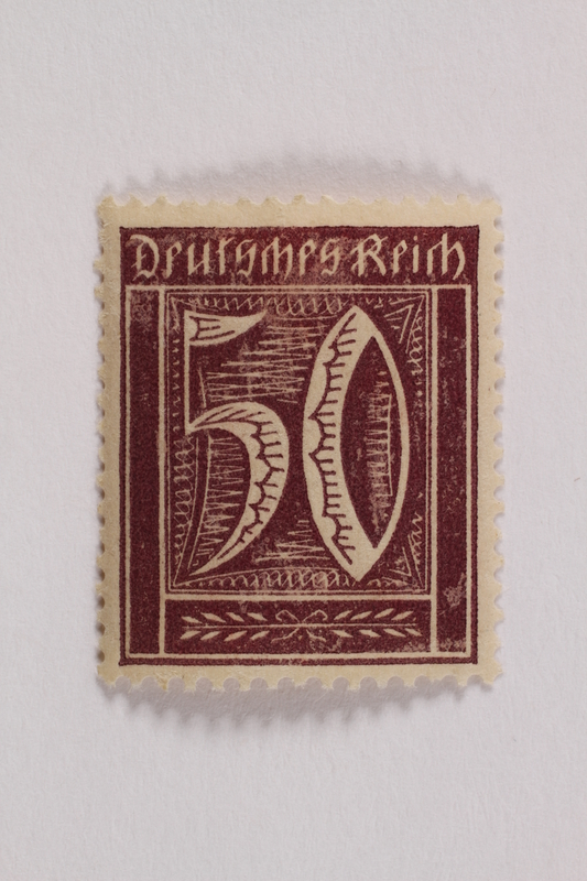 2006.265.101 front Postage stamp, 50 mark, issued in Germany during hyperinflation in the Weimar Republic