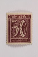2006.265.101 front Postage stamp, 50 mark, issued in Germany during hyperinflation in the Weimar Republic  Click to enlarge
