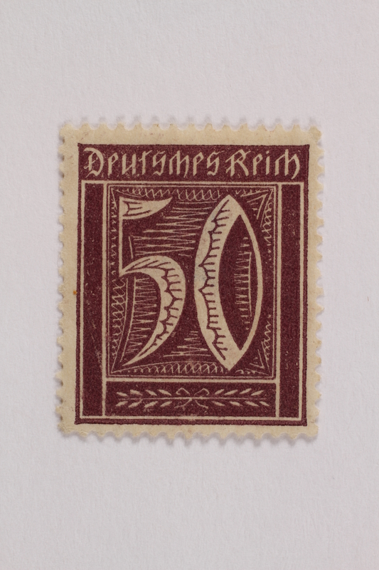 2006.265.102 front Postage stamp, 50 mark, issued in Germany during hyperinflation in the Weimar Republic