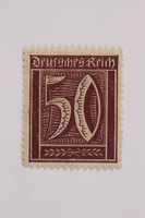 2006.265.102 front Postage stamp, 50 mark, issued in Germany during hyperinflation in the Weimar Republic  Click to enlarge