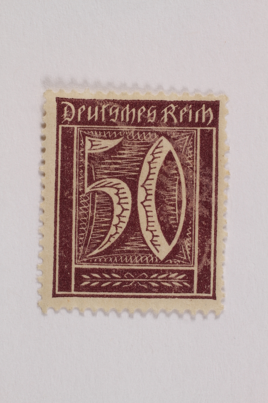 2006.265.103 front Postage stamp, 50 mark, issued in Germany during hyperinflation in the Weimar Republic