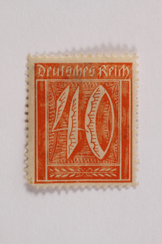 2006.265.104 front Postage stamp, 40 mark, issued in Germany during hyperinflation in the Weimar Republic