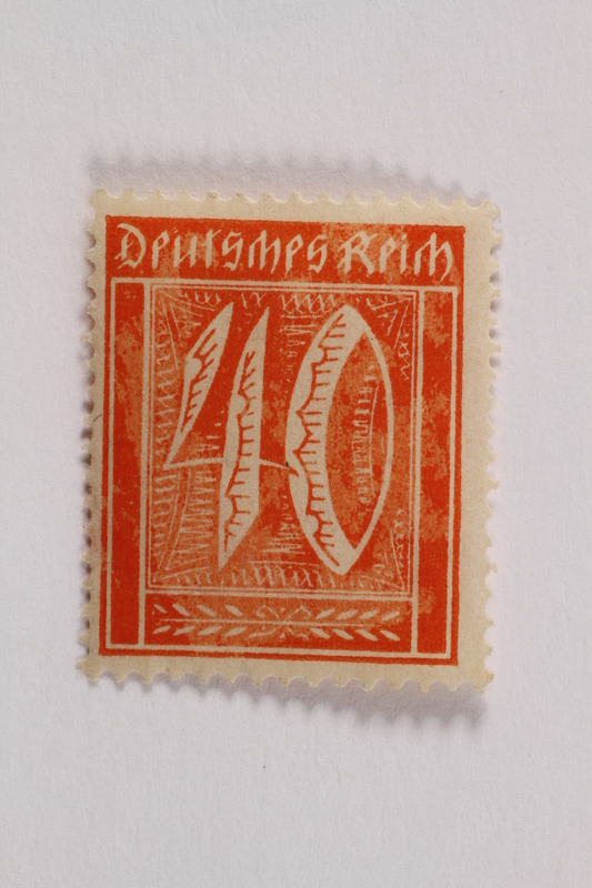 2006.265.105 front Postage stamp, 40 mark, issued in Germany during hyperinflation in the Weimar Republic