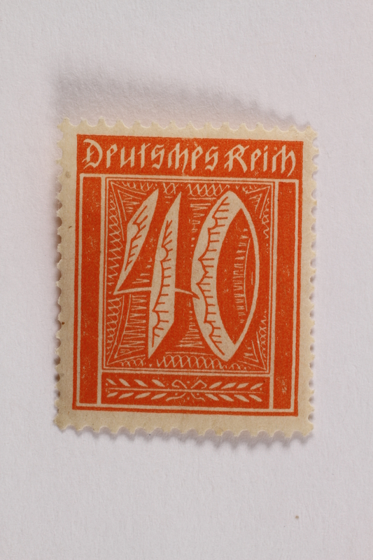 2006.265.106 front Postage stamp, 40 mark, issued in Germany during hyperinflation in the Weimar Republic