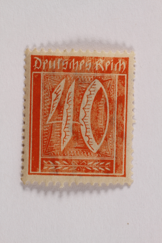 2006.265.107 front Postage stamp, 40 mark, issued in Germany during hyperinflation in the Weimar Republic
