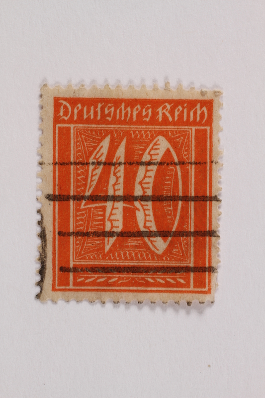 2006.265.108 front Postage stamp, 40 mark, issued in Germany during hyperinflation in the Weimar Republic