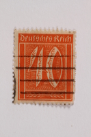 2006.265.108 front Postage stamp, 40 mark, issued in Germany during hyperinflation in the Weimar Republic  Click to enlarge