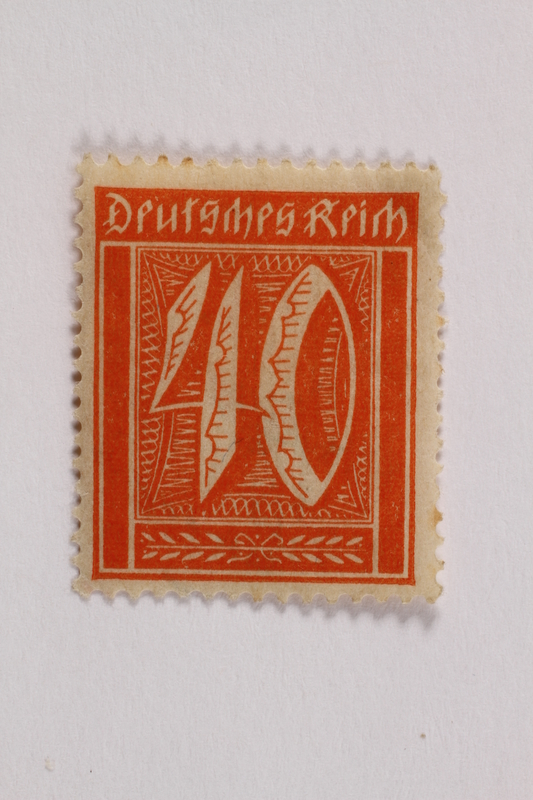 2006.265.109 front Postage stamp, 40 mark, issued in Germany during hyperinflation in the Weimar Republic