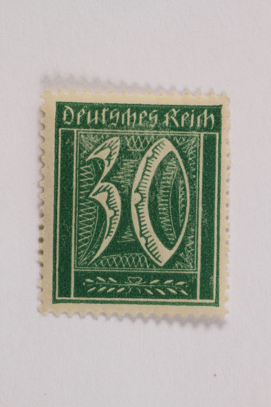 2006.265.110 front Postage stamp, 30 mark, issued in Germany during hyperinflation in the Weimar Republic