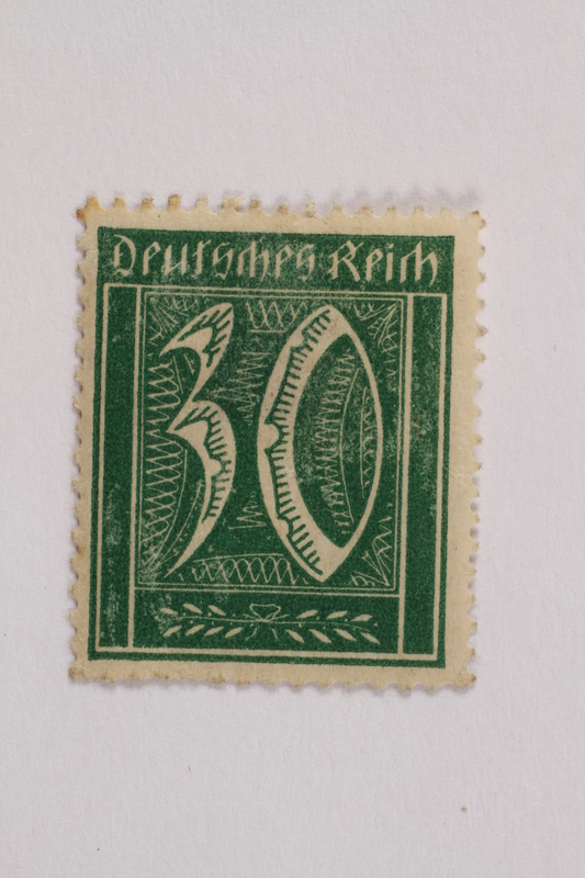 2006.265.111 front Postage stamp, 30 mark, issued in Germany during hyperinflation in the Weimar Republic