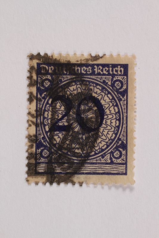 2006.265.112 front Postage stamp, 20 mark, issued in Germany during hyperinflation in the Weimar Republic