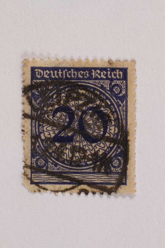 2006.265.114 front Postage stamp, 20 mark, issued in Germany during hyperinflation in the Weimar Republic