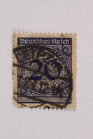 2006.265.114 front Postage stamp, 20 mark, issued in Germany during hyperinflation in the Weimar Republic  Click to enlarge
