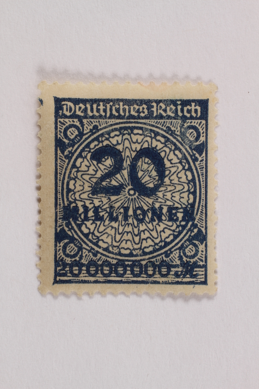 2006.265.115 front Postage stamp, 20 mark, issued in Germany during hyperinflation in the Weimar Republic