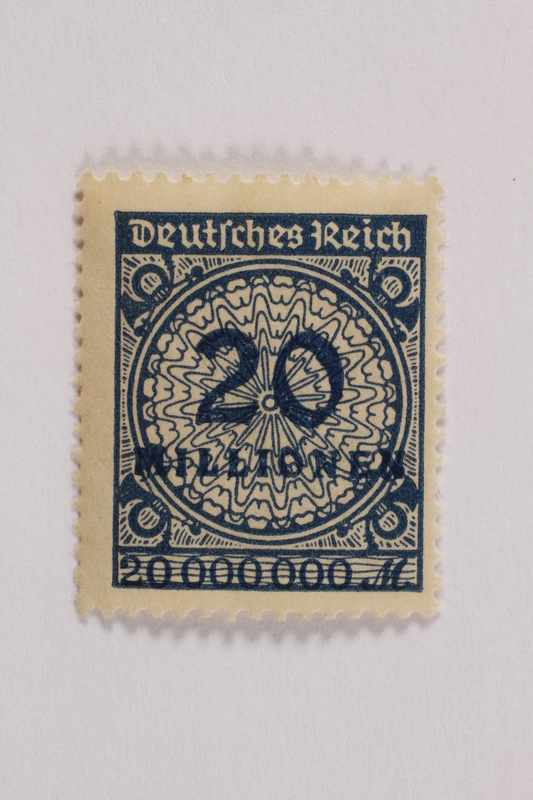 2006.265.116 front Postage stamp, 20 mark, issued in Germany during hyperinflation in the Weimar Republic