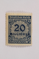 2006.265.116 front Postage stamp, 20 mark, issued in Germany during hyperinflation in the Weimar Republic  Click to enlarge
