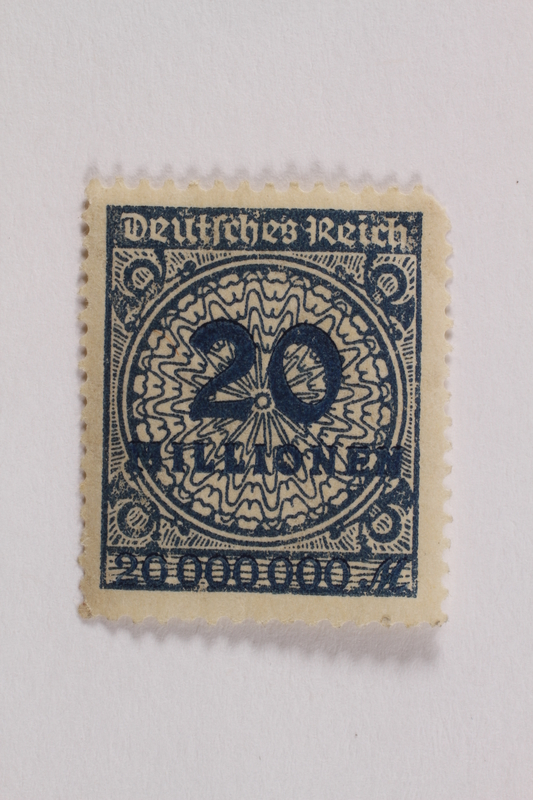 2006.265.117 front Postage stamp, 20 mark, issued in Germany during hyperinflation in the Weimar Republic