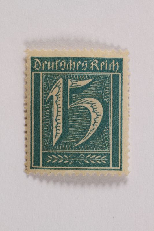 2006.265.121 front Postage stamp, 15 mark, issued in Germany during hyperinflation in the Weimar Republic