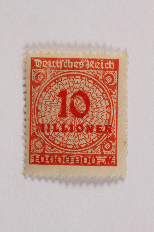 2006.265.122 front Postage stamp, 10 mark, issued in Germany during hyperinflation in the Weimar Republic