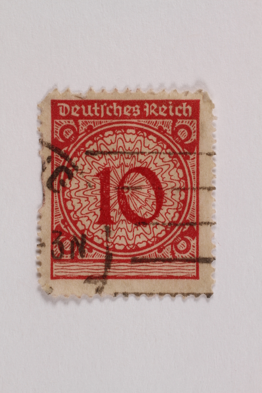 2006.265.128 front Postage stamp, 10 mark, issued in Germany during hyperinflation in the Weimar Republic