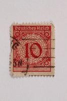 2006.265.128 front Postage stamp, 10 mark, issued in Germany during hyperinflation in the Weimar Republic  Click to enlarge