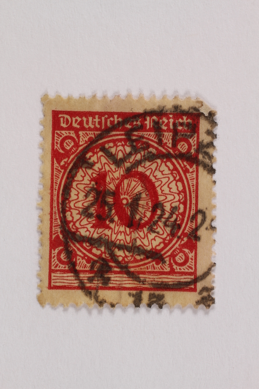 2006.265.129 front Postage stamp, 10 mark, issued in Germany during hyperinflation in the Weimar Republic