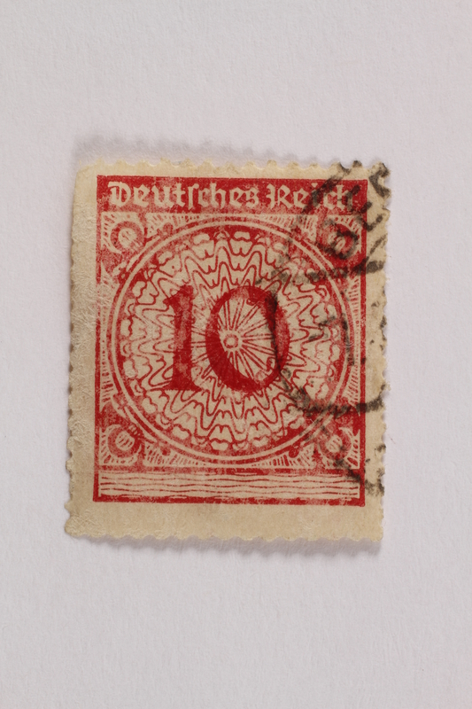 2006.265.130 front Postage stamp, 10 mark, issued in Germany during hyperinflation in the Weimar Republic