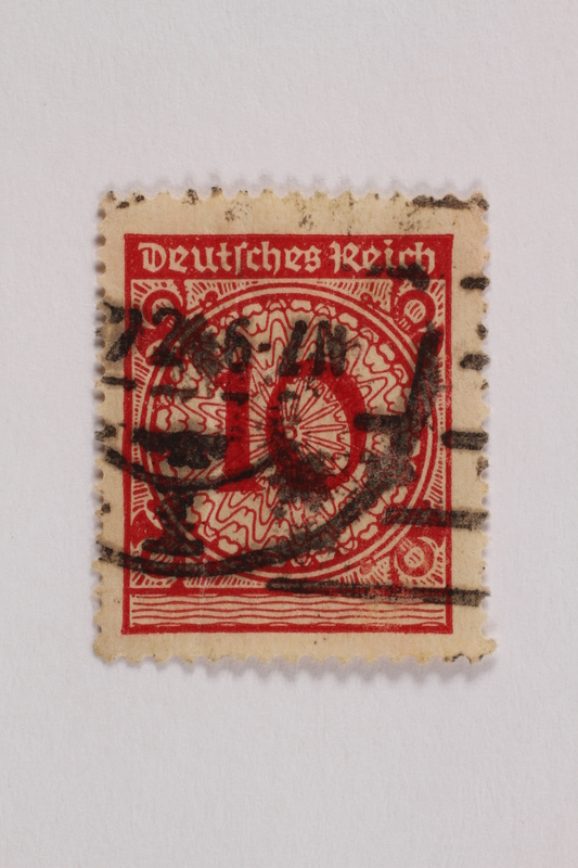2006.265.131 front Postage stamp, 10 mark, issued in Germany during hyperinflation in the Weimar Republic